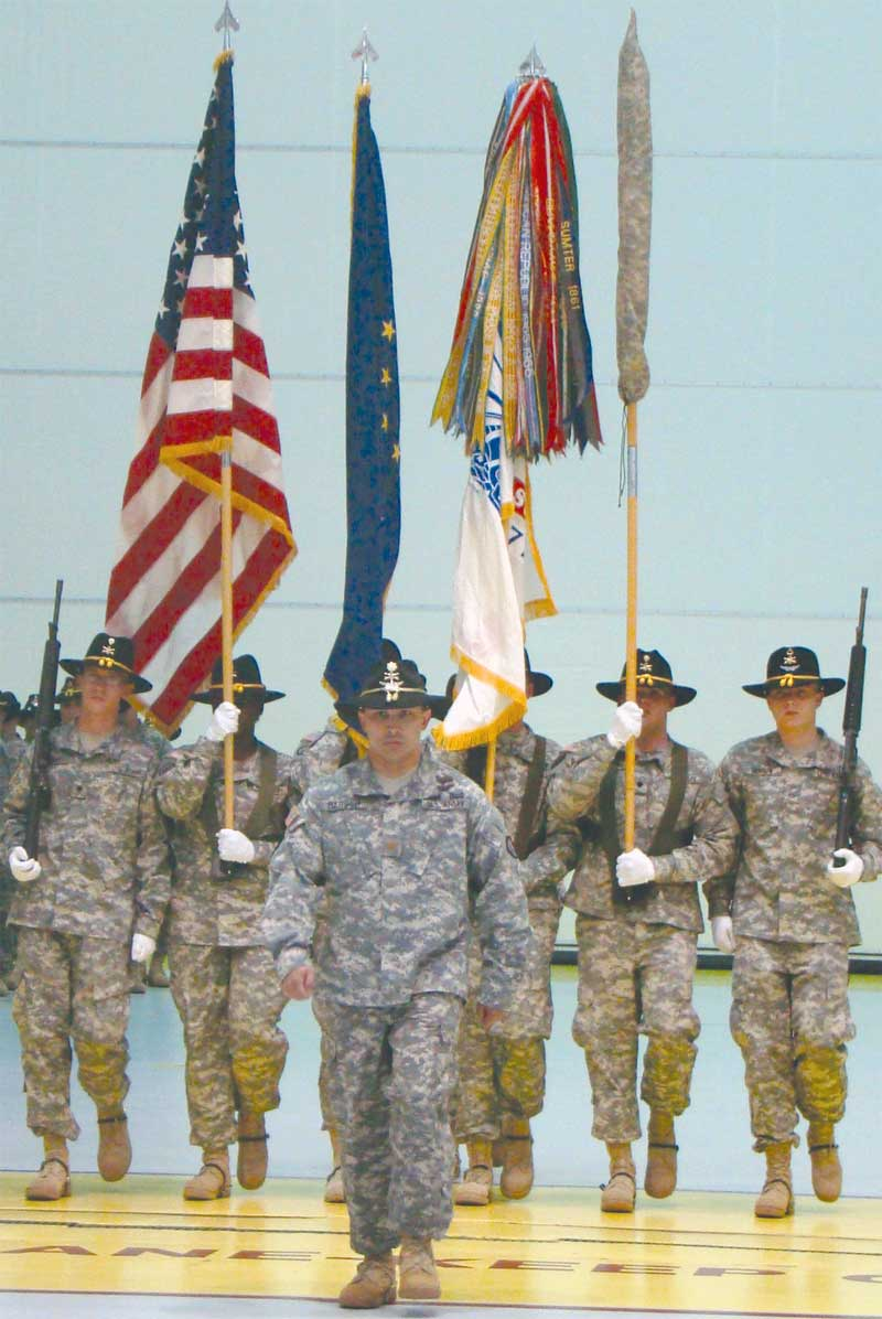 Maj. David Barber, commander of troops, leads the color guard forward at the redeployment ceremony for 6th Squadron, 17th Cavalry Regiment, Aug. 19.